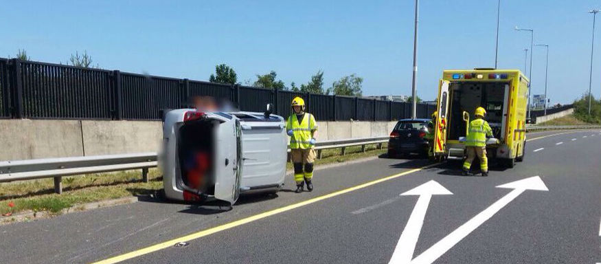 One Injured After Car Overturns On The M50