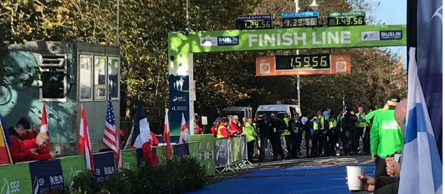 Winner Cross The Line At Dublin Marathon