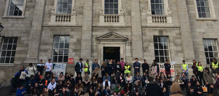 Trinity shut down by students