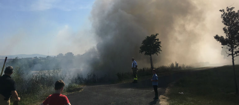 Dublin Fire Brigade battles blaze at Tolka Valley Park