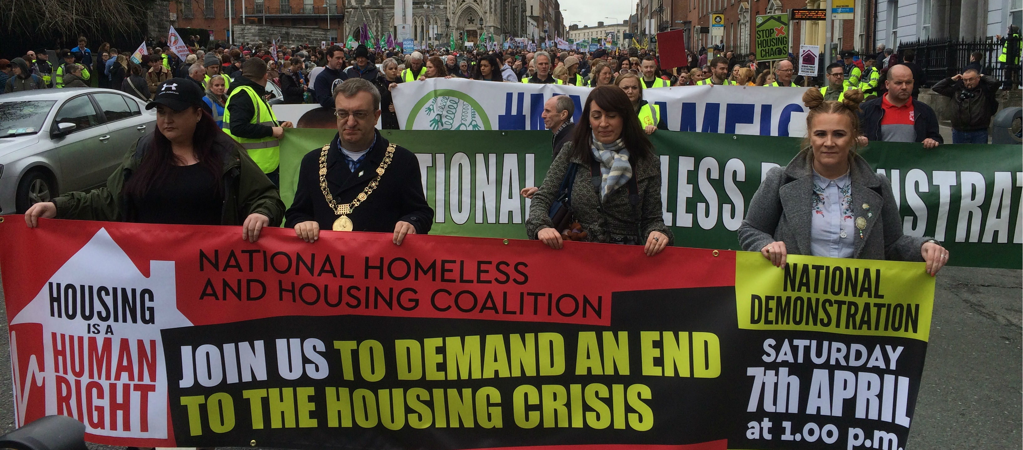 Thousands Protest In Dublin Over Homeless Crisis