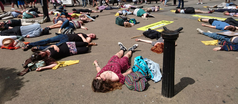 Climate activists protest in the city